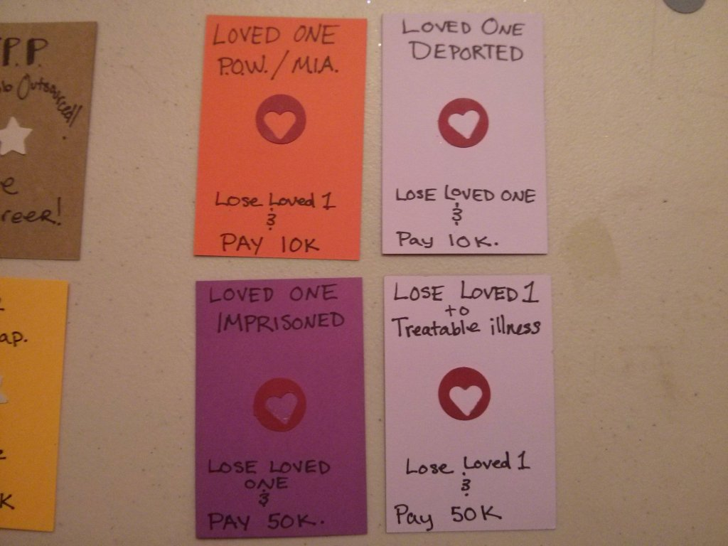 Lose Loved One action cards