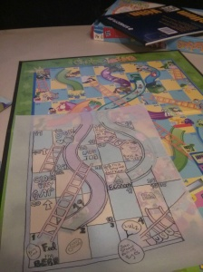 Chutes and ladders with tracing paper overlay